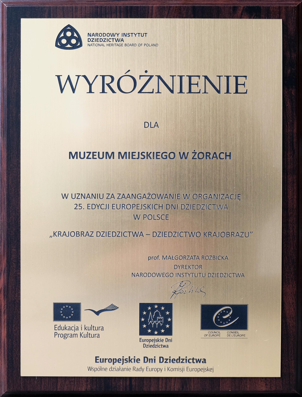 Wyróżnienie Europejskie Dni Dziedzictwa 2017
