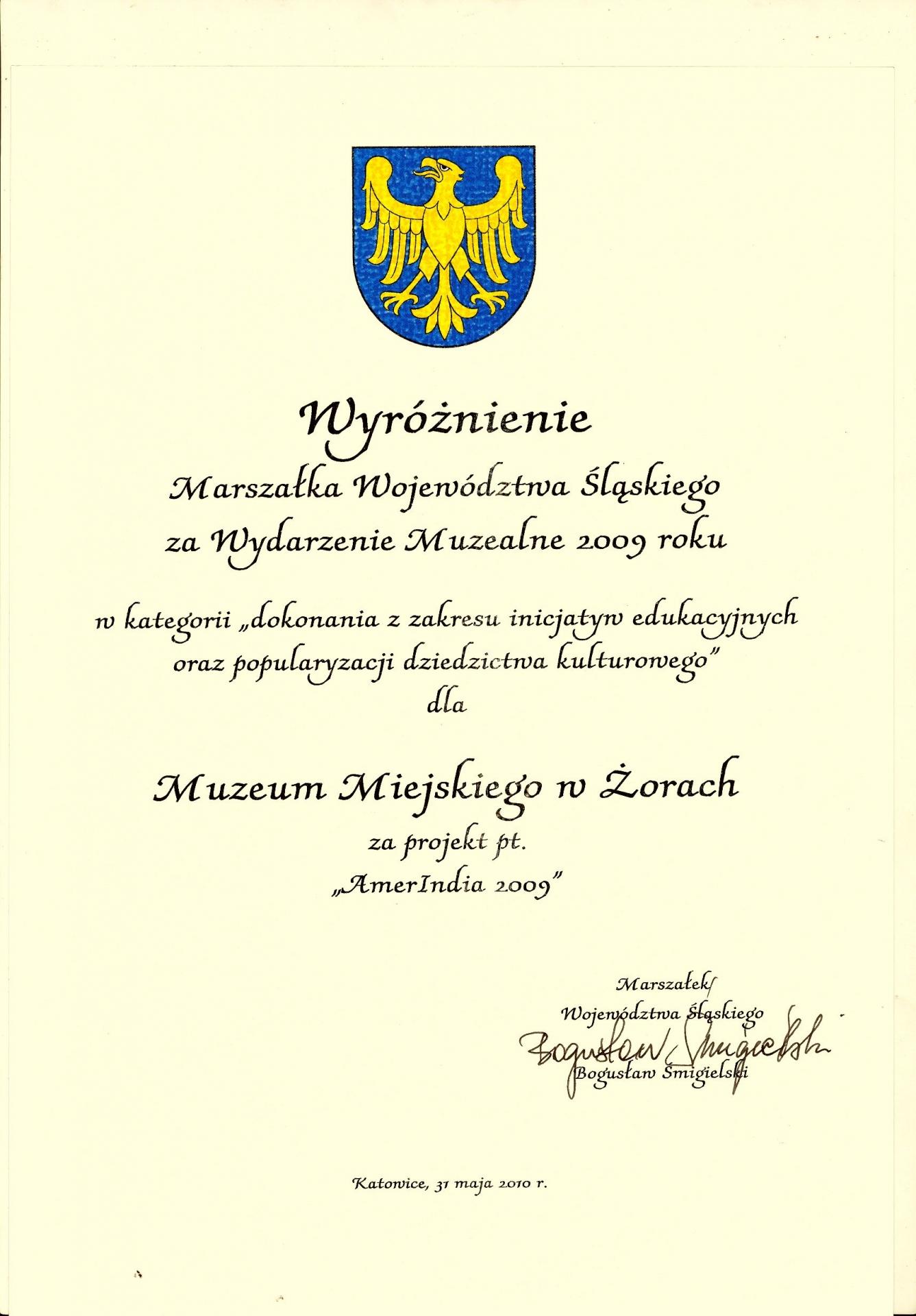 Nagroda Marszałka Województwa Śląskiego 2010