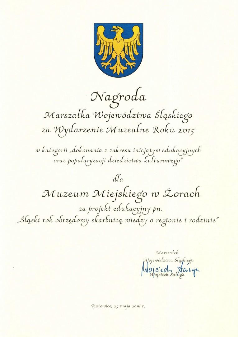 Nagroda Marszałka Województwa Śląskiego 2016