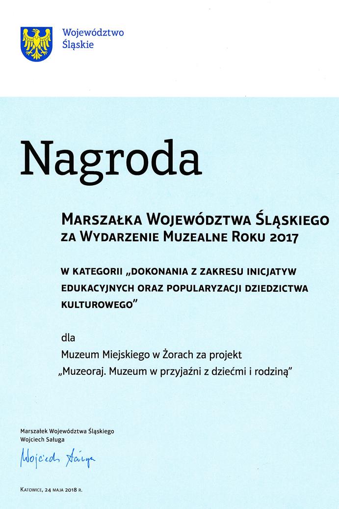 Award passed by Marshal of Silesian Voivodeship 2017 -Muzeoraj . Family at the museum