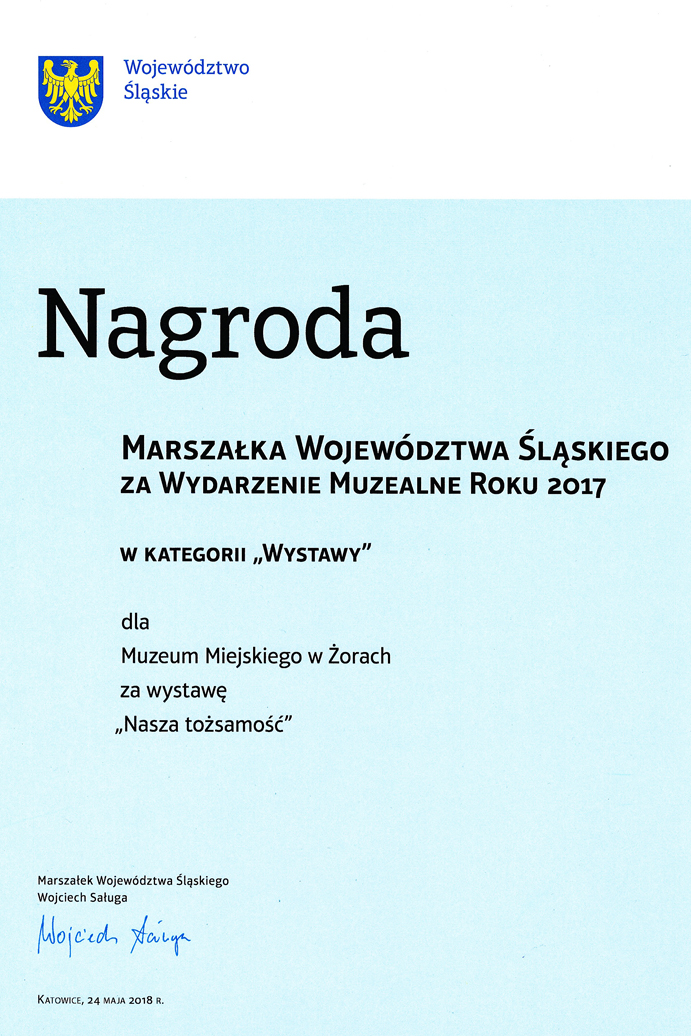 """Award passed by Marshal of Silesian Voivodeship 2017 - exhibition """"Our identity"""""""